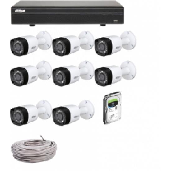 DAHUA 8CH 4MPIXEL KIT 4 HCVR71084M PLUS 8 CAMS HFW1400R PLUS HD 1TERRA PLUS CCTV CABLE