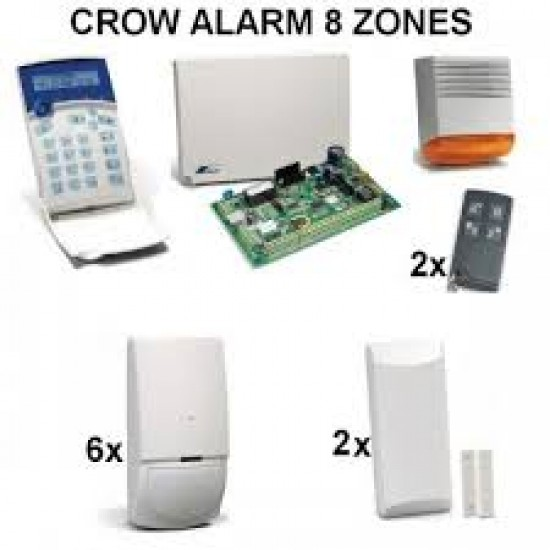 Aσύρματο σύστημα συναγερμού Crow runner 8 με 6 ασύρματα radar και 2 ασύρματες μαγνητικές επαφές έτοιμο πρός εγκατάσταση