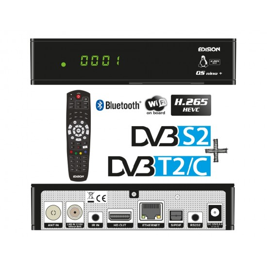 Δορυφορικος δέκτης  EDISION OS NINO+ DVB-S2 + DVB-T2/C COMBO LINUX