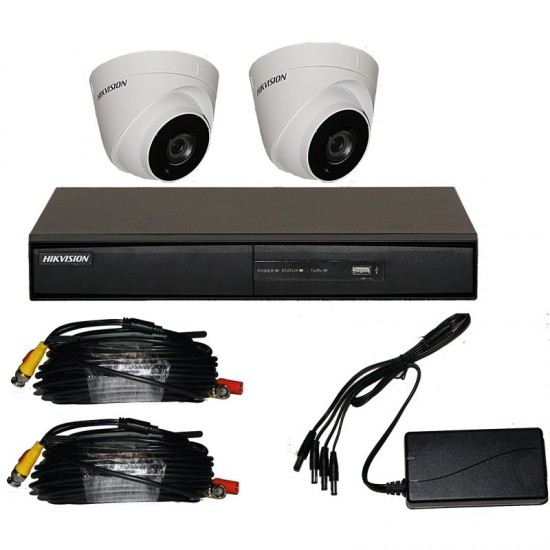 CCTV KIT 2 Kαμερών 1 MP HIKVISION 7204HGHI-F1 plus 2 DS-2CE16D0T-IRPF plus power supply,cables  kit1202