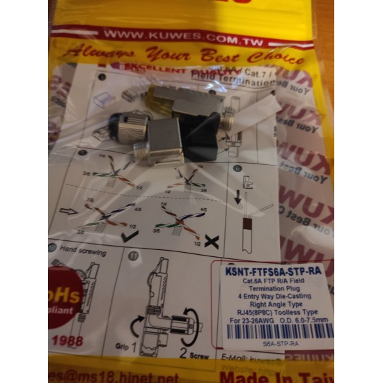 KUWES-KSNT-FTFS6A-STP-RA CAT6A FTP R/A RIGHT ANGLE TOOLESS
