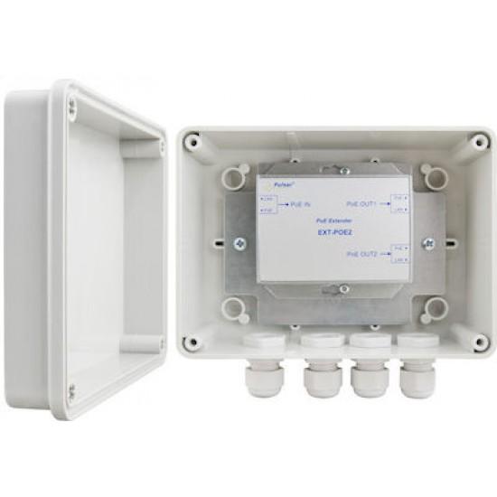 PULSAR EXT-POE2H Ethernet PoE Repeater σε στεγανό αδιάβροχο κουτί