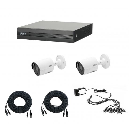 DAHUA CCTV KIT 2 καμερών 1MP 1418 με έτοιμα καλώδια και τροφοδοτικό