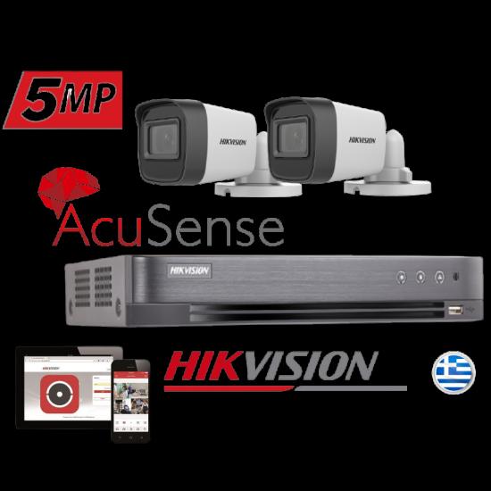 hikvision DS7204HUHI-K1 PLUS 2 CAMS HIKVISION DS2SE16H1T-IT 5MPIXEL KIT 51