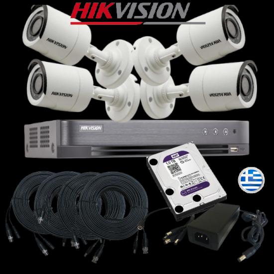 Oλοκληρωμένο σύστημα CCTV DS-7204HGHI-F1 PLUS 4 CAMS HIKVISION DS-2CE16C0T-IRMF PLUS CABLES HARD DISC KIT4416